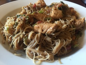 A gluten, lactose and egg free chicken stir fly